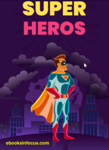 ebook cover for super heros colouring book